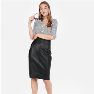 High Waisted Faux Leather Pencil Skirt